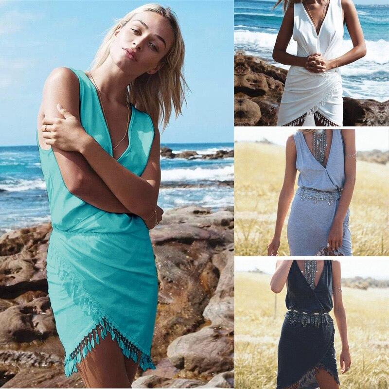 Saenshing Pareo Beach Cover Up Sexy Women Tassel Tunic Deep V-neck Bikini Beachwear Swimwear Women Summer Cover Up Beach Dress