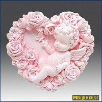卸売3d手作り石鹸シリコーン型ハート形赤ちゃん花金型ローズ天使の キャンドル金型キャンディ鋳型