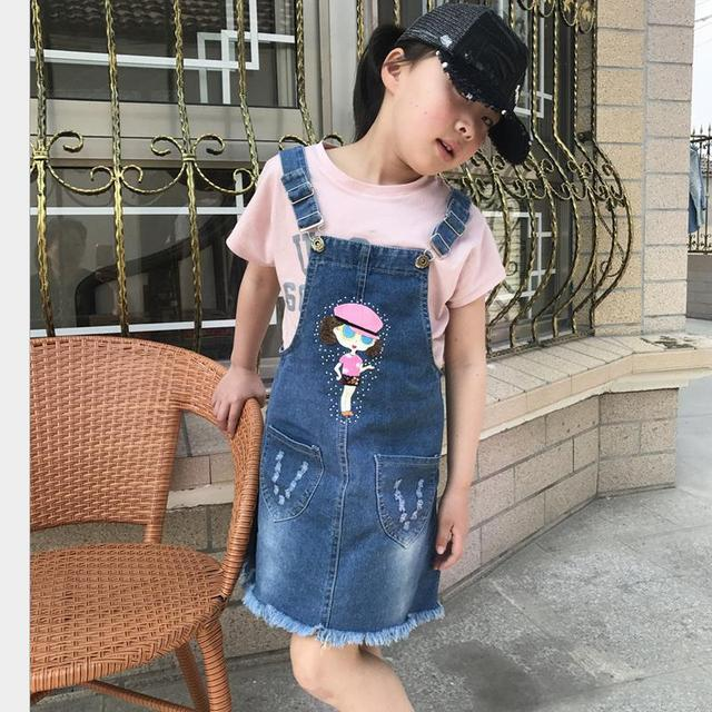 84675f2ce6c New Fashion 2017 Spring Autumn Baby Girls Overalls Summer Clothes Children  Cotton Denim Strap Dresses Jeans Bow Sling Dress