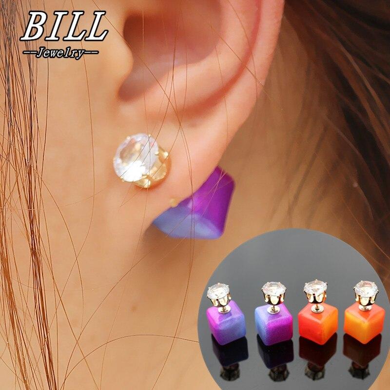 Es2027 Double Sided Stud Earrings Boucle For Women