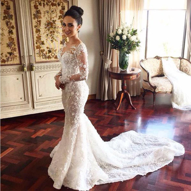 42dd4a70cab Sheer Crew-Neck Appliques Beads Long Sleeve Mermaid Wedding Dress With  Detachable Court Train