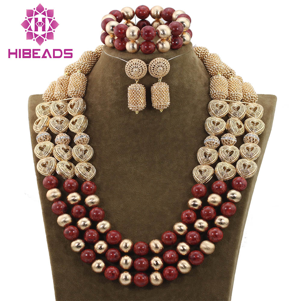 New 2017 Nigerian African Wedding Beads Exclusive Gold Necklace Jewelry Set Heart-shaped Accessories Free ShippingABH117 free shipping the new popular wedding special heart shaped acrylic podium organic glass church pulpit