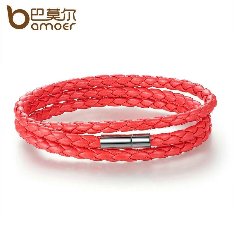 Bamoer Mode Männer & Frauen Leder Wrap Armband Mit Verstellbaren Langen Kette Magnet Rot Armbänder Schmuck Pi0063-6