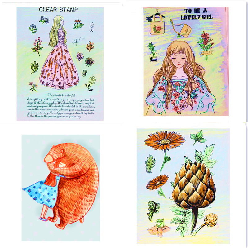 Girl animal cat Stamps Flower Mermaid Rainbow Stamp Transparent Rubber Stamps Clear Silicone craft Stamps for DIY Scrapbooking details about east of india rubber stamps christmas weddings gift tags special occasions craft