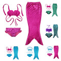 2016 Newest Lovely Princess Children Baby Girls Mermaid Tail Bath Split Swimsuit Costume Swimsuit Bikini Set Dress Age 3-10Y