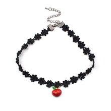Женщины Сексуальная Мода Старинные Цветок Ромашка Choker Черное Кружево Сеть Сердце Белл Ожерелье