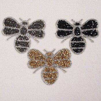 Exquisite Strass Patches Appliques Für Kleidung Schöne Bee Mode Decor Für Kinder T-shirts DIY Eisen Aufkleber Für Kleidung