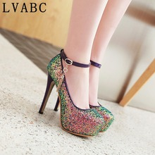 LVABC 2018NEW women pumps colorful glitter high heels comfortable high quality golden women wedding party shoes office heels