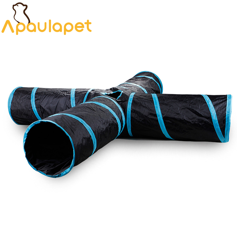 APAULAPET Four links Pet Tunnel Cat Play Black Foldable Holes Cat Tunnel Kitten Cat Toy Bulk Cat Tunnel Toys With Ball