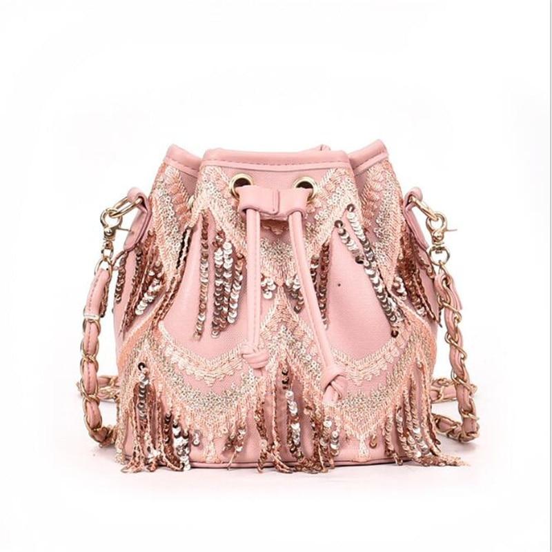 Meloke 2019 quality women handmade beads tassel bucket bags casual shoulder  bags string cross body bags 2c11f9a20ef1