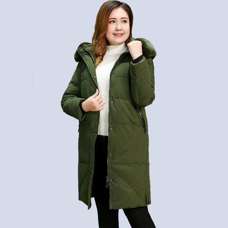 High Quality Winter Jacket Women   Parkas   Coat Warm Hooded Long Outerwear Plus Size XL-13XL Female White Duck Down Cotton Jacket