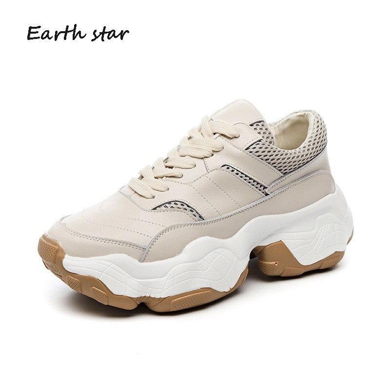 Nouveau Mujer Femme Femmes Respirant blanc Plate 2019 Chunky De Sneakers Cuir Chaussures Beige En Printemps forme Zapatos Décontracté Blanches Véritable qwx7ZfWwpa