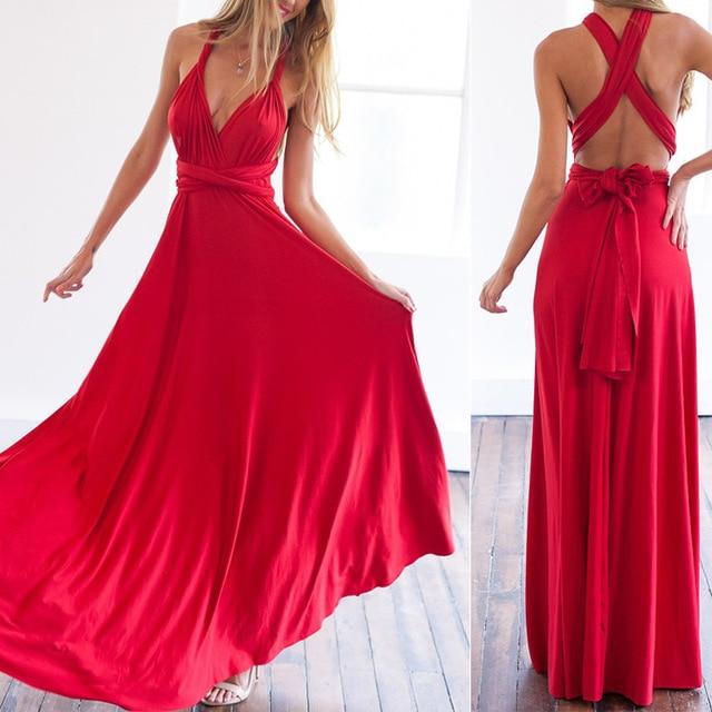 5 Color 2016 summer sexy women maxi dress red bandage long dress sexy Multiway Bridesmaids Convertible Dress robe longue femme