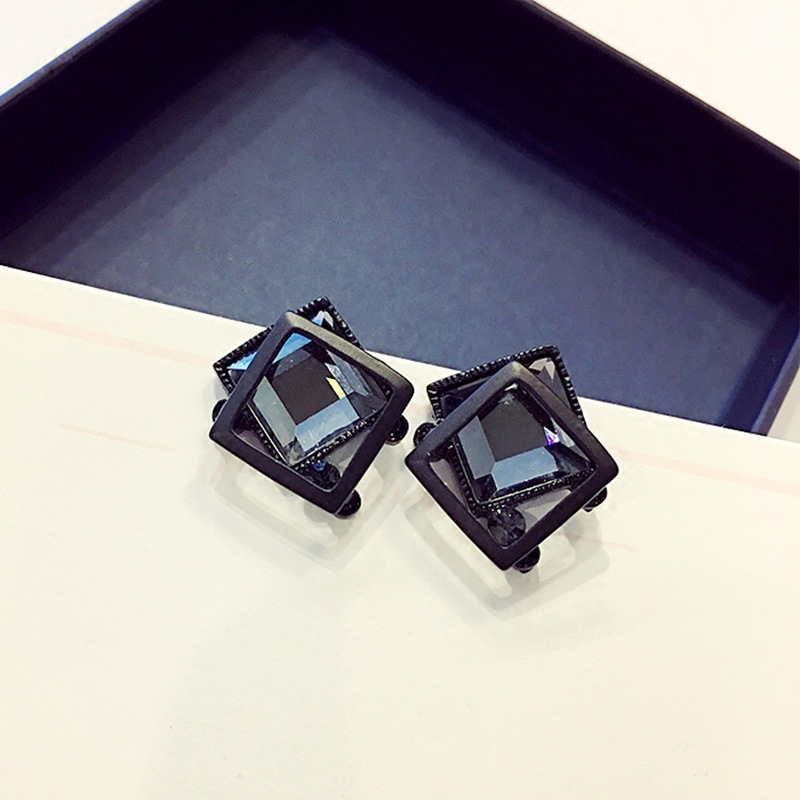 Metal Earrings Fashion Jewelry Black Crystal Hot-Sale New-Design Simple No Modernos Aretes-De-Mujer title=