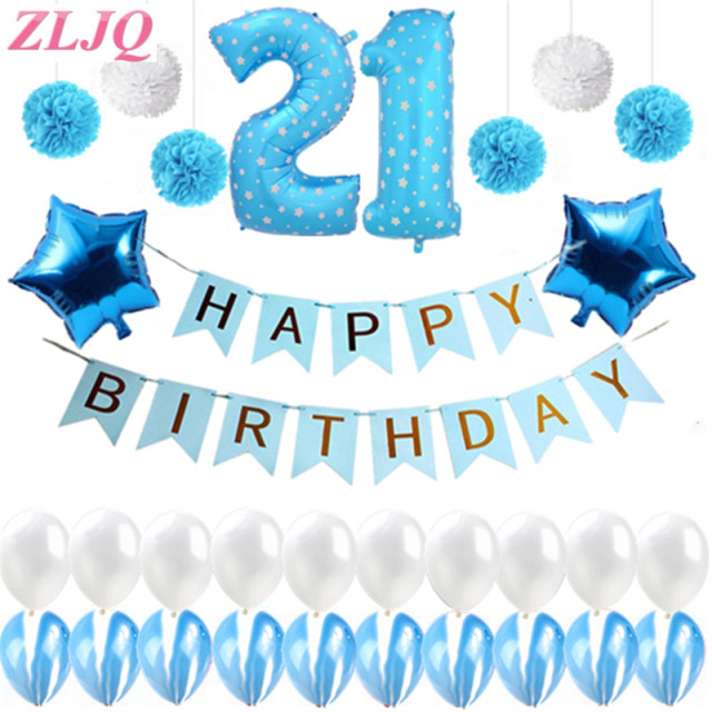 ZLJQ 31PCS 21st Happy Birthday Party Balloons Kit Blue Banner Supplies Decorations And White Latex Balloon