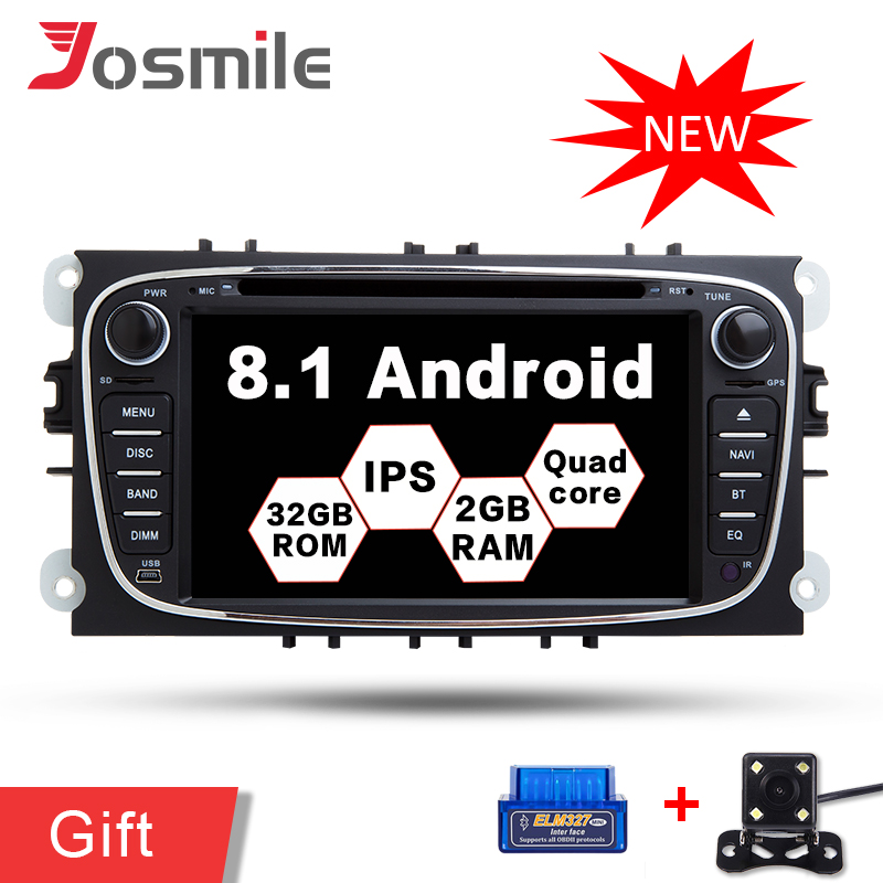 2g RAM Android 8.1 Voiture DVD GPS Navigation Pour Ford/Focus/S-MAX/Mondeo/C-MAX/ galaxy Headunit Multimédia Radio Lecteur IPS Wifi OBD