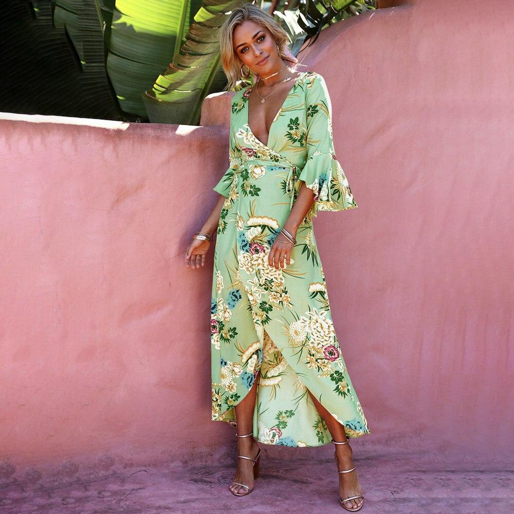 Floral Print Summer Maxi <font><b>Dress</b></font> <font><b>Women</b></font> Vintage V Neck Sundress Beach 2018 Spring 3/4 Flare Sleeve Boho Vestidos