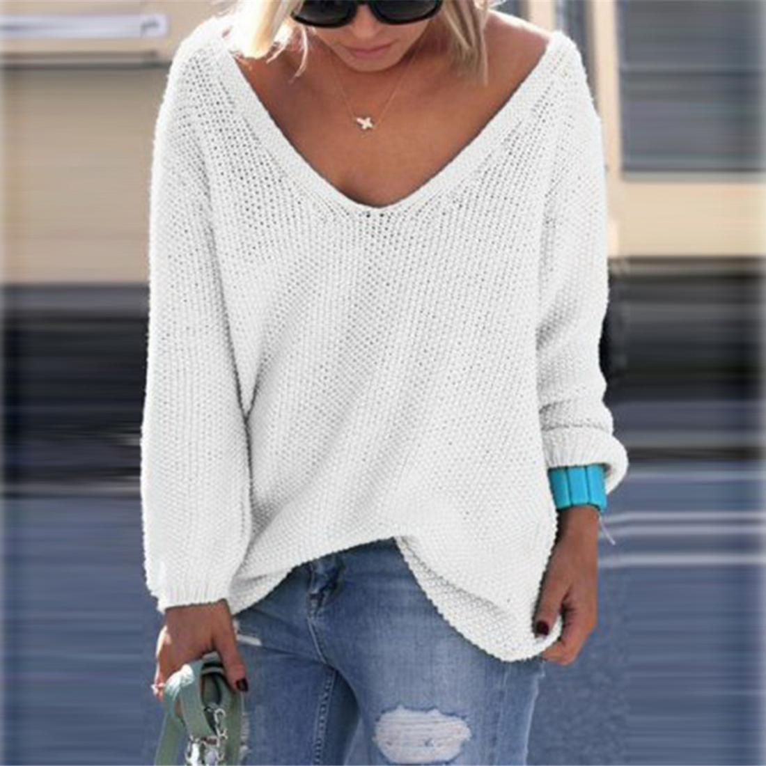 Oversized Winter V Neck Loose Knitted Sweater Women Casual ...