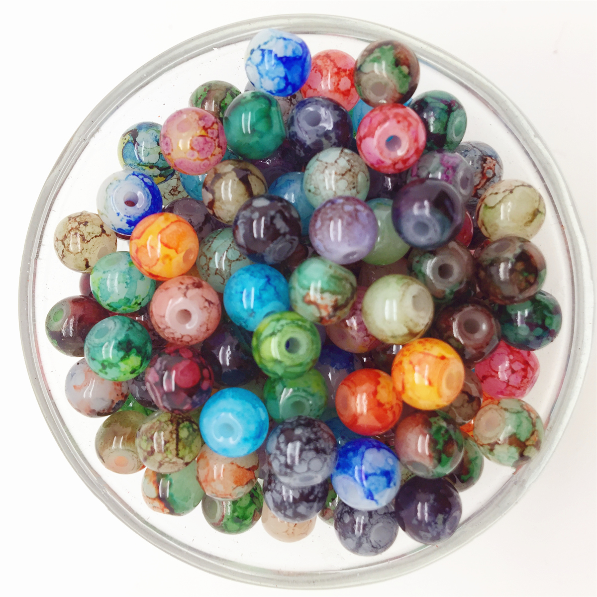 NEW DIY 4//6//8mm Double Color Glass Round Pearl Spacer Loose Beads Jewelry Making