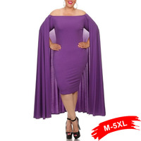 Sexy Plus Size Off The Shoulder Bodycon Solid Color Cape Dress Cloak Fake Twinset Red Elegant