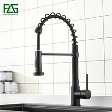 FLG Kitchen Faucets Black for Sink Single Lever Pull Out Spring Spout Mixers Tap Hot Cold Water Crane 924-33B