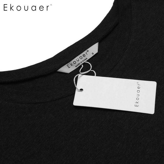 Ekouaer Men Long Sleephirts Cotton Nightwear Basic Round Neck Short Sleeve Solid Nightshirts Mens Sleepwear Soft Loose Homewear