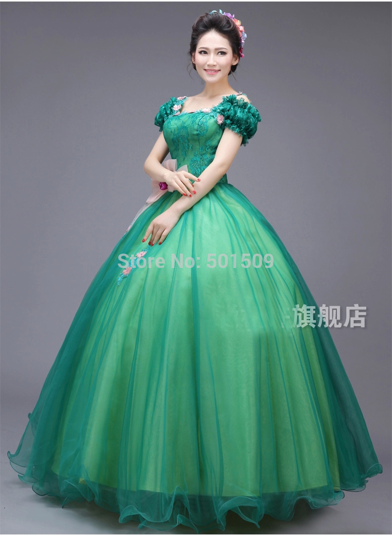 green lace beading medieval dress Renaissance Gown queen cosplay Victorian /Marie Antoinette Belle Ball