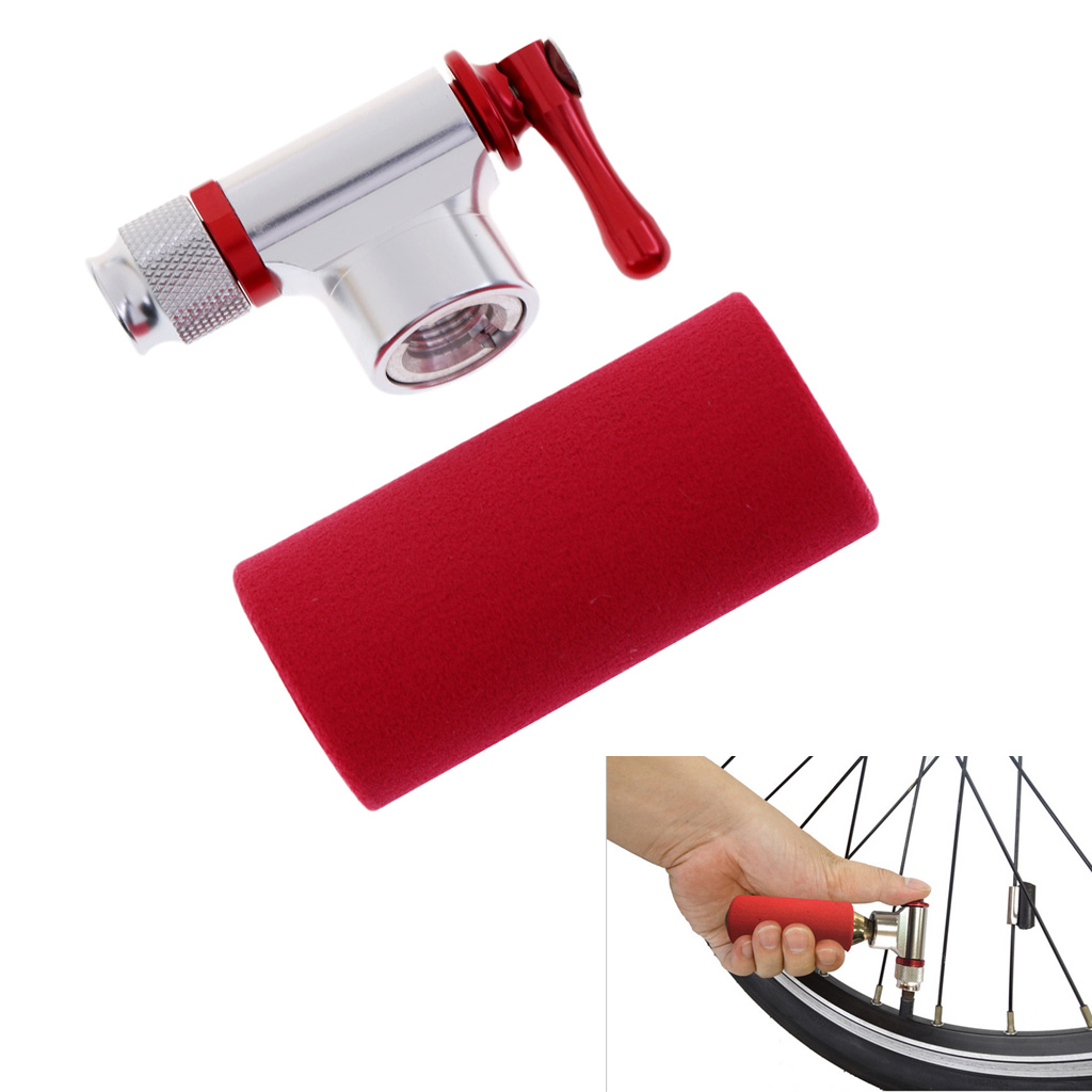 Aluminum Alloy CO2 Inflator Head Portable Bicycle Bike Tire Tyre Air CO2 Inflator Pump with Red Sponge Insulated Sleeve