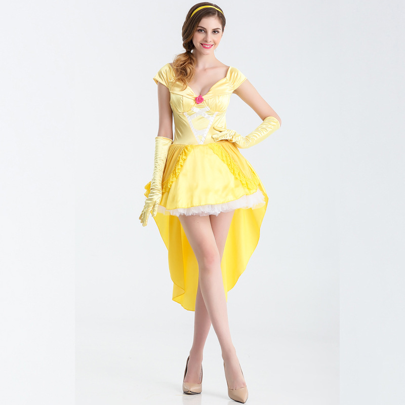 Luxury Beauty and The Beast Fancy Dress Cosplay Costume Princess Belle Adult Women Female Halloween Costumes Fancy Suit