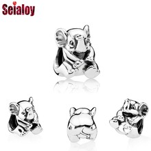 SEIALOY 2Pcs / Lot New Lucky Elephant Beads For Women Girls DIY Handmade Pandora Bracelets Bangles Original Jewelry Gift(China)