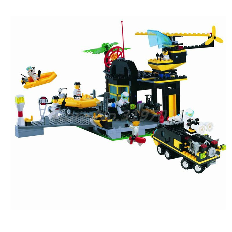 ENLIGHTEN Police Series Building Block Maritime Rescue Centre Motorboat Helicopter 7 Figure 528pcs Bricks Toys For Children police оправа медицинская police опр мед police 506 528