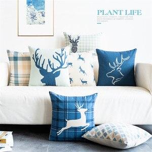 Blue Cotton Linen Throw Pillow