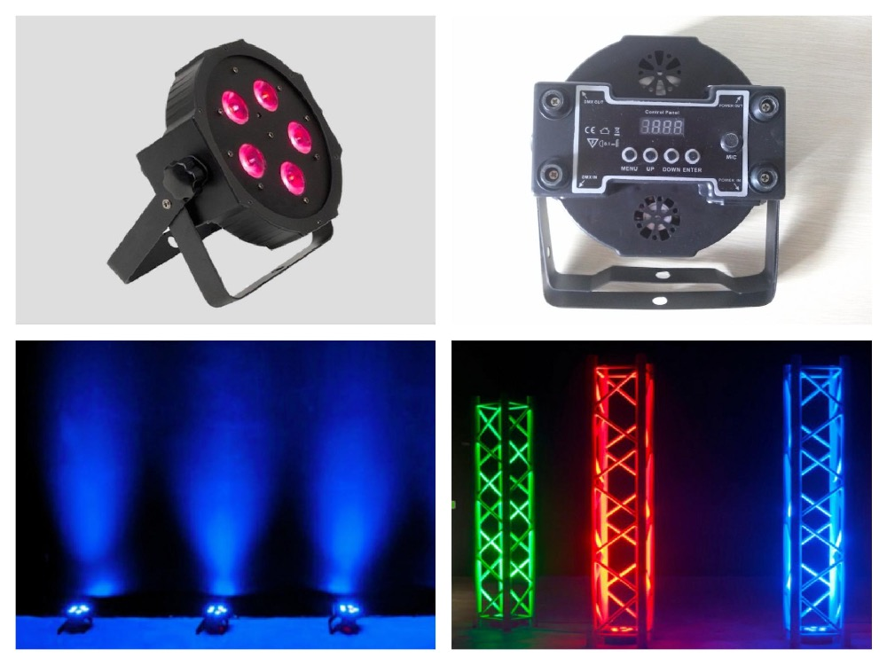 ФОТО 10pcs/lot, ADJ LED Par Light 5x9W RGB Flat 3in1 IEC input/output Slim par38 Lights DMX Megar Par Stage Lighting