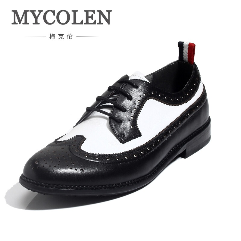 MYCOLEN Fashion Mens Dress Office Lace-Up Leather Shoes Men's Casual Breathable Oxford Shoes For Men Vintage Carved Brogue Flats