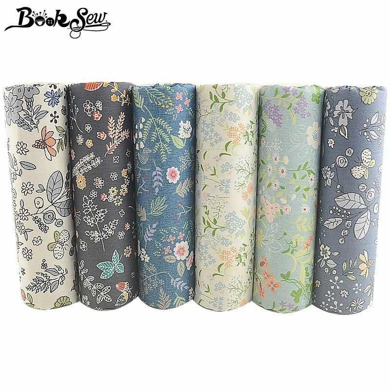 Flores estampadas de Booksew, tela 100% de algodón, 6 uds., 40cm x 50cm, almohada de cuarto grueso, textil hogar acolchado, accesorios de costura