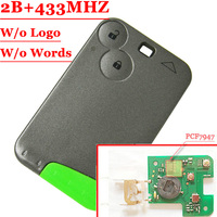 Free Shipping 1pcs 2 Button Smart Key 433MHZ For Renault Laguna Espace Card With Pcf7947 Chip