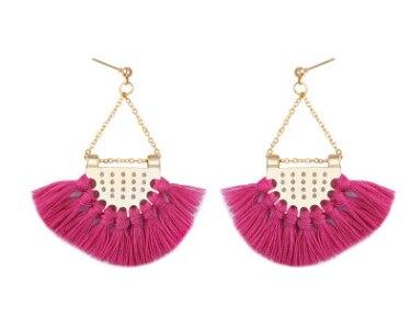 Этнический стиль Модные веерообразные серьги с кисточками в богемном стиле серьги ювелирные изделия - Цвет: Розовый