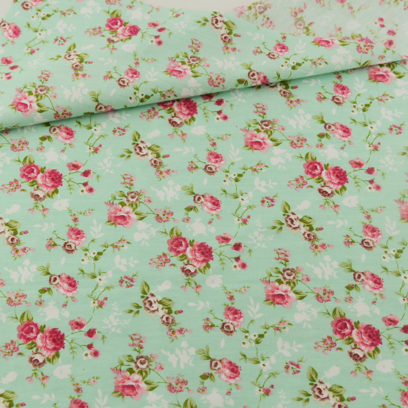 Green Flower Cotton Fabric Home Textile Decoration Bedding Clothing Patchwork Teramila Fabrics Quilting Doll Sewing Cloth Cover