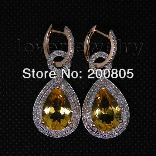 Vintage Pear 10x14mm Solid 14Kt Rose Gold Diamond Citrine Earrings,Rose Gold Earrings For Sale E002