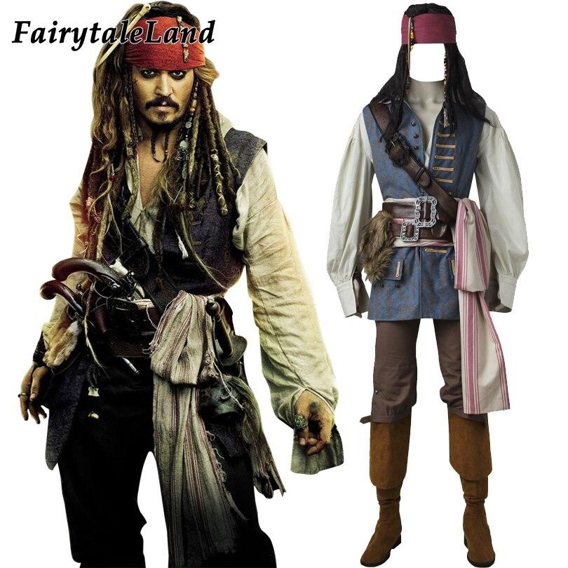 Captain Jack Sparrow Costume Cosplay Pirates Of Caribbean Adult Men