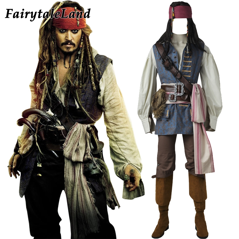 captain jack sparrow costume cosplay pirates of the caribbean jack sparrow costume adult men custom made - Jack Sparrow Halloween Costumes