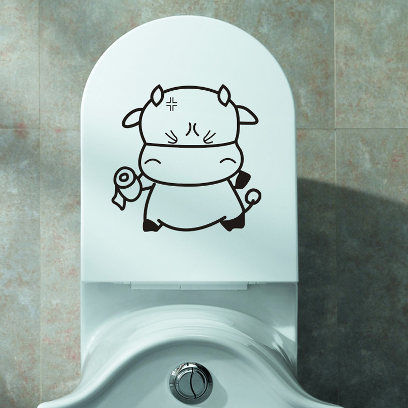 Cartoon Cute Calf Toilet/wall Stickers Bathroom Decor cupboard For Home Decoration Vinyl Decals funny wall stickers on the wall(China)