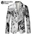 Mens Fashion Printed Blazer White 2017 New Arrival Brand Clothing Mens Stage Wear Suit Jacket DT518