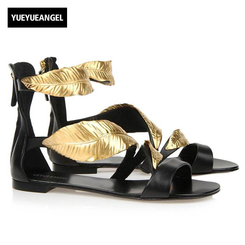 2018 Summer Sexy Open Toes Women Sandals Genuine Leather Ankle Strap Gladiator Flats Golden Leaves Elegant Ladies Holiday Shoes cootelili real fur ankle strap gladiator sandals women flats 2017 summer tassel shoes ladies wedding beach sandals bohemian