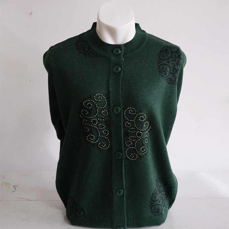 패션 봄 니트 코트 카디건 할머니 따뜻한 느슨한-긴팔 스웨터 코트 대형 여성 캐주얼 니트 카디건 M-7XL