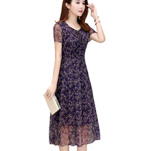 Mother S Summer Women Size Chiffon Fl Dress 2018 New Female Age Reduction Long Section 35 45 Year Old V Neck Ky199