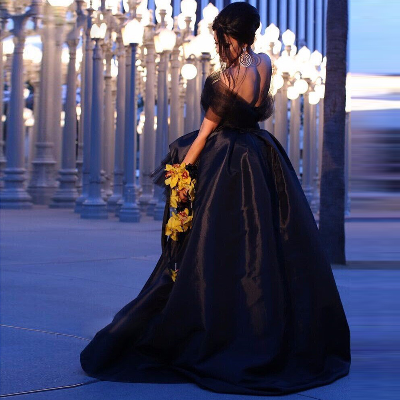 98fbb0389b5d New Arrival Black Chic Short Prom Dresses Custom Made Off Shoulder High Low  Taffeta Unique Evening Dress Formal Party Gowns-in Prom Dresses from  Weddings ...