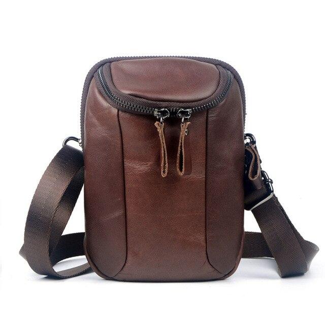 The New Men Vintage Genuine Leather Cowhide  Messenger Shoulder Bag Hook Belt  Fanny Pack MountaineerTravel  Cell phone pocket