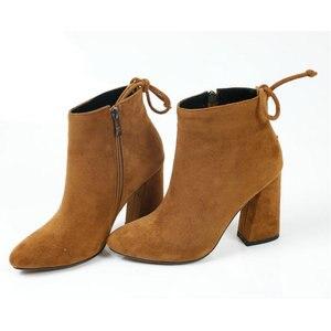 Image 3 - ESVEVA 2020 נשים מגפי פלוק קרסול מגפי בוהן עגול חורף נעלי כיכר עקבים גבירותיי מערבי מסיבת זמש סתיו מגפי גודל 34 43
