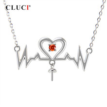 CLUCI 925 Sterling Silver Heartbeat Pendant Necklace Sweet Love Pendant Necklace Valentine's Gift Jewelry for Women(China)